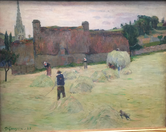 Haymaking in Brittany, (Verso, Bouquet of flowers in front of a window to the sea,  double sided canvas), Musee d'Orsay