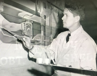Robert Rishell at age 20 working on Progress through Labor Mural