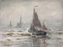 William Frederic Ritschel Boats in the Surf Midsized Thumbnail
