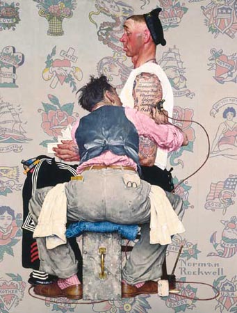 Norman Rockwell Tattoo Parlor and Sailor