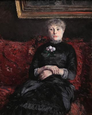 Woman Seated on a Red-Flowered Sofa, 1882 Gustave Caillebotte, French, 1848-1894