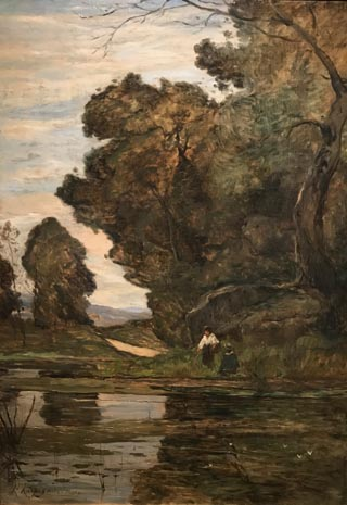 Fishing in a Pond, 1866 Henri-Joseph Harpignies, French, 1819-1916