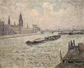 The Thames at Lambeth, 1914 Lucien Pissarro (son of Camile Pissarro) French, 1863-1944
