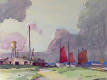 Karl Schmidt Sailboats on a Beach Midsized Thumbnail