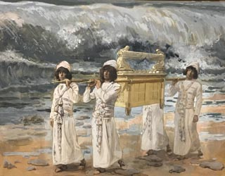 James Tissot, The Ark Passes Over Jordan, c 1886-1902, Opaque watercolor on board The Jewish Museum, New York