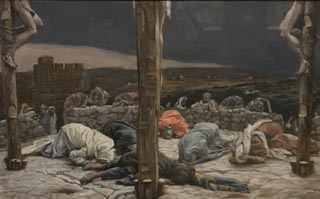 James Tissot,The Earthquake, c 1886-1902 Opaque watercolor on board Brookland Museum, New York