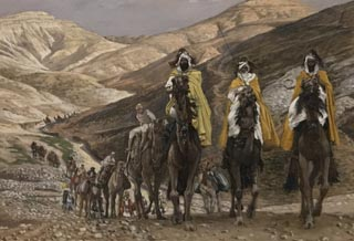 James Tissot, The Magi on Their Way to Bethlehem, c 1886-1902, Opaque watercolor on board Brooklyn Museum, New York