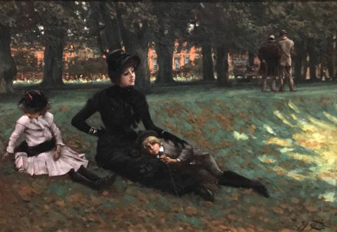 James Tissot, Hampton Court or A Visit to the Park, 1882 Collection of Ann and Godon Getty