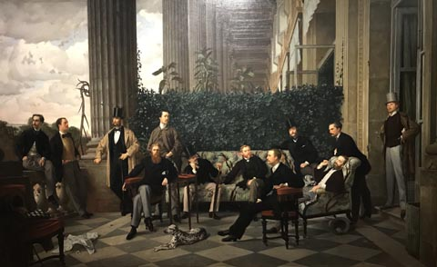 James Tissot, The Circle of the Rue Royale, 1866-68 Musee d'Orsay, Paris (Each of the elite aristocracy pictured here chipped in an equal portion of Tissot's commission, and then raffled the painting among themselves.)
