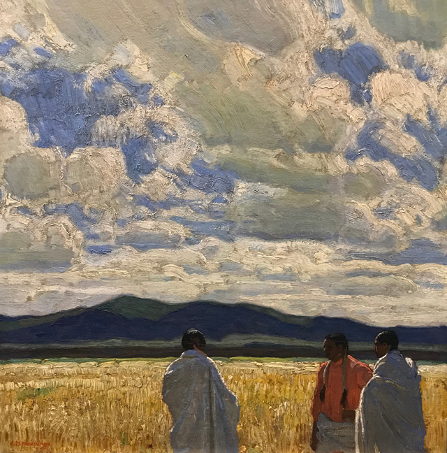 Discussing the Crops, c 1930, E. Martin Hennings, 1886-1956, Harwood Museum of Art, Taos
