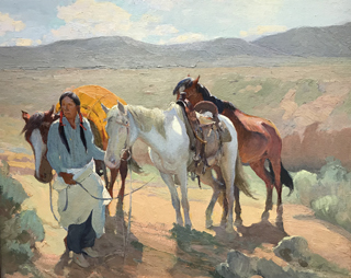 Crossing the Arroyo, ND Oscar Berninghaus, 1874-1952 Taos Art Museum at Fechin House
