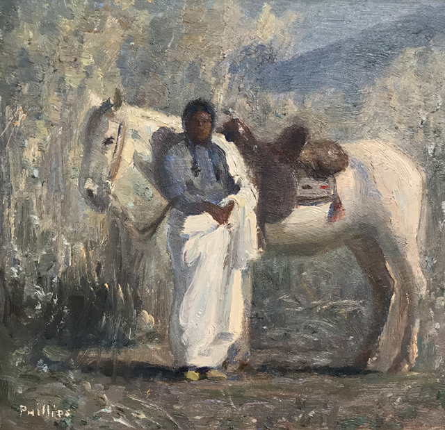 Indian Man and White Horse, ND, Bert Geer Phillips, 1868-1956, Taos Art Museum at Fechin House