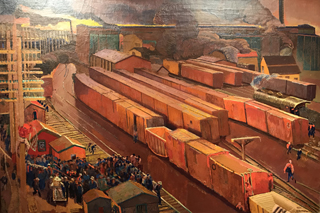 Railroad Yard, Meeting Called, c 1950-51 Ernest L. Blumenshein, 1874-1960 Blumenshein Home and Museum, Taos