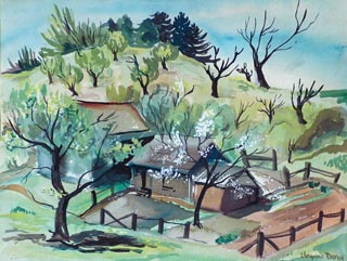 Virginia Darce Spring Landscape Watercolor 1944