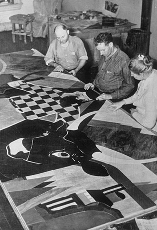 Virginia Darce with assistants working on the Paul Bunyun mosaic