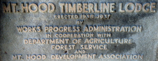 WPA Plaque, entrance to the Timberline Lodge