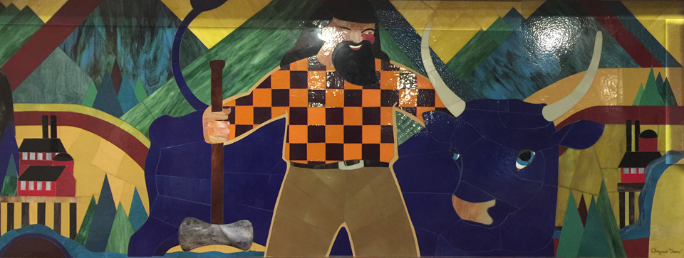 Virginia Darce's Glass Mural, Paul Bunyan and his Blue Ox Babe at the Timberline Inn on Mt Hood, Oregon