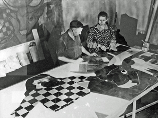 Virgnia Darce at work on her Paul Bunyun Mural at the Timberline Lodge on Mt Hood in Oregon