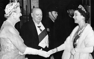 Lady and Sir Winston with Queen Elizabeth