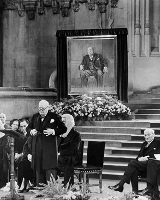 Winston Churchill presented with a gift of a portrait from Parliament on his 80th birthday