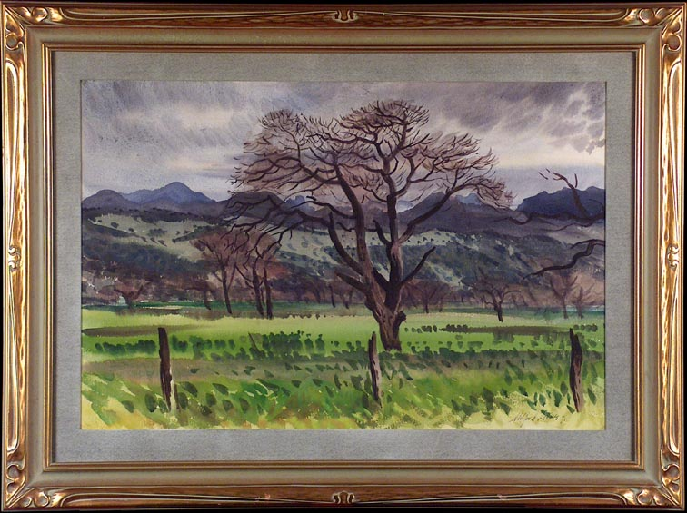 Milford Zornes Orchard Under Grey Skies with frame